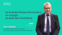 Marc Guigon, UIC Director of Passenger Department, explaining the high-speed rail concept (FR)