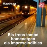 Els trens també homenatgen els imprescindibles [The trains also pay tribute to the essential workers]