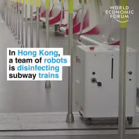 In Hong Kong, a team of robots is disinfecting subway trains