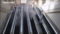 Wuhan train station sees one last full-front disinfection work before it reopens to the public