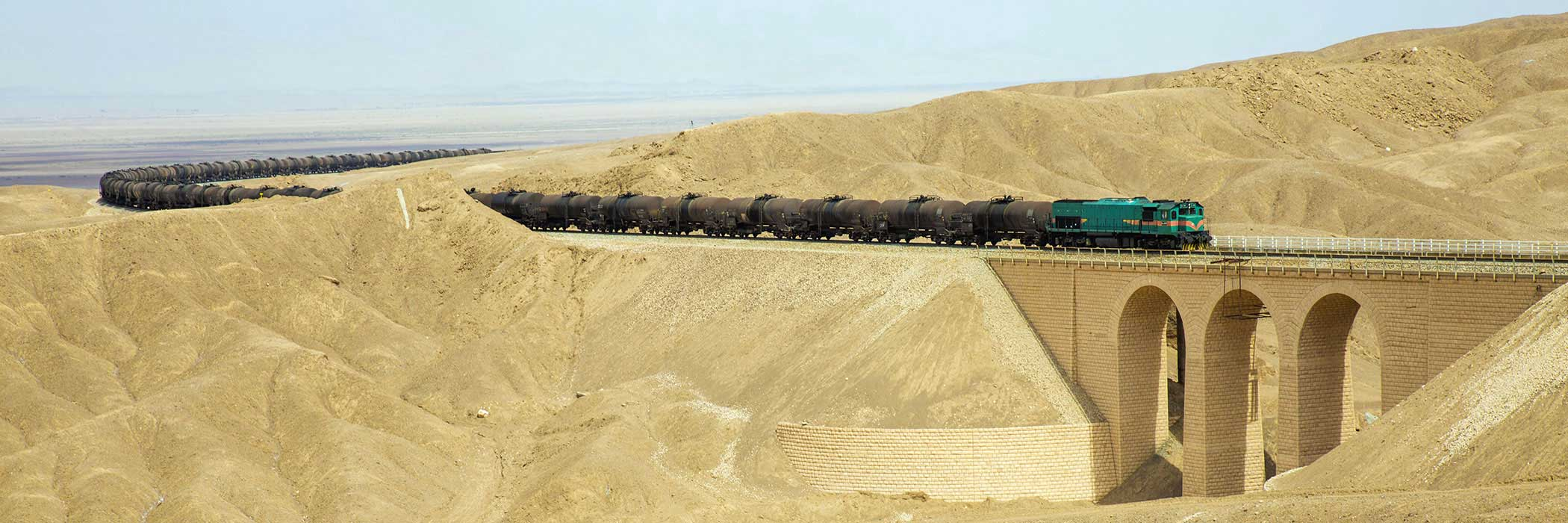 Freight train hauling tank wagons, Iran